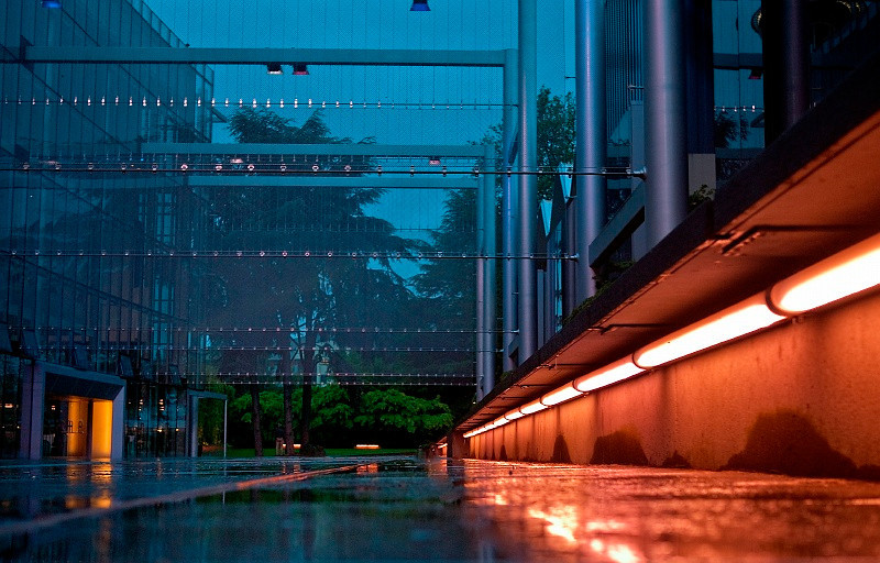 21 May 2010: Rainy evening at McCaw Hall in Seattle.