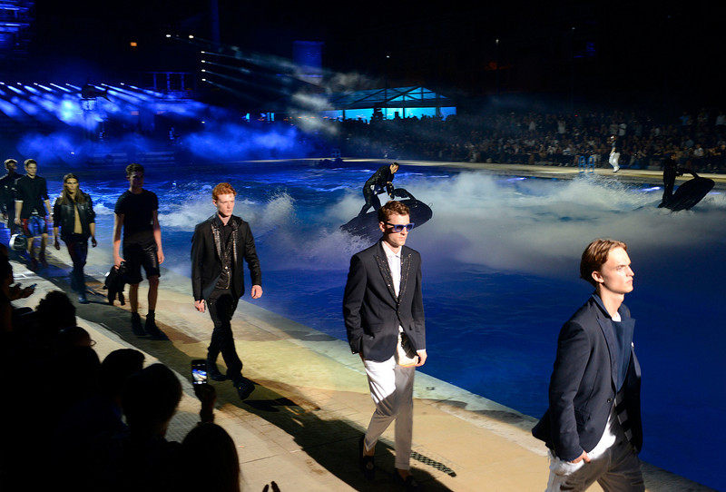 . Models wear creations for Philipp Plein men\'s Spring-Summer 2015 collection, part of the Milan Fashion Week, unveiled in Milan, Italy, Saturday, June 21, 2014. (AP Photo/Giuseppe Aresu)