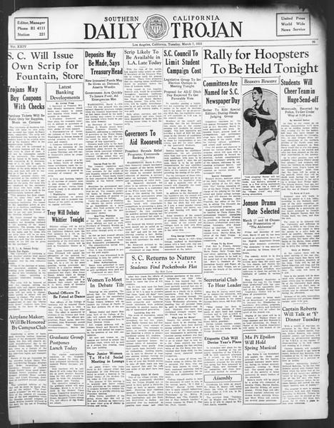 Daily Trojan, Vol. 24, No. 99, March 07, 1933