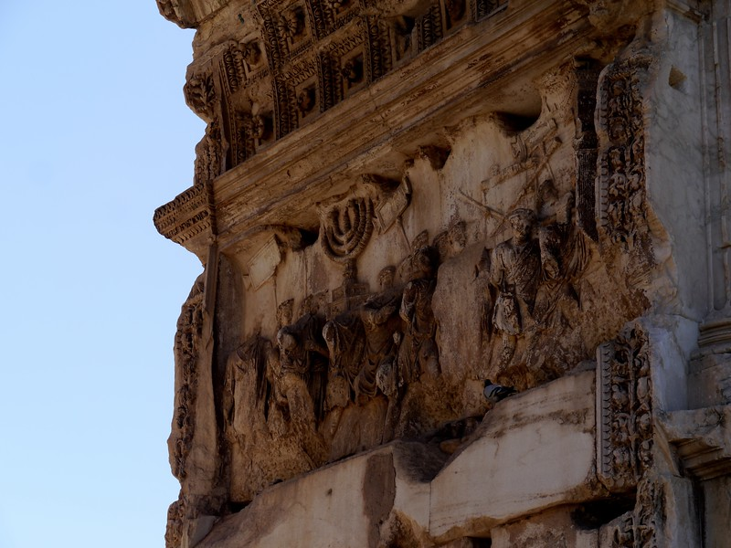 Famous menorah relief on the Arch of Titus, depicting the sack of Jerusalem.