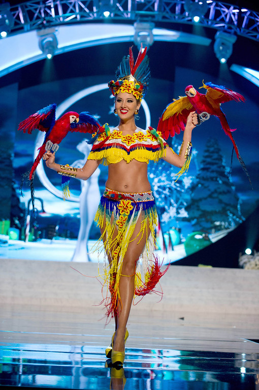 . Miss Colombia Daniella Alvarez Vasquez performs onstage at the 2012 Miss Universe National Costume Show at PH Live in Las Vegas, Nevada December 14, 2012. The 89 Miss Universe contestants will compete for the Diamond Nexus Crown on December 19, 2012. REUTERS/Darren Decker/Miss Universe Organization L.P./Handout