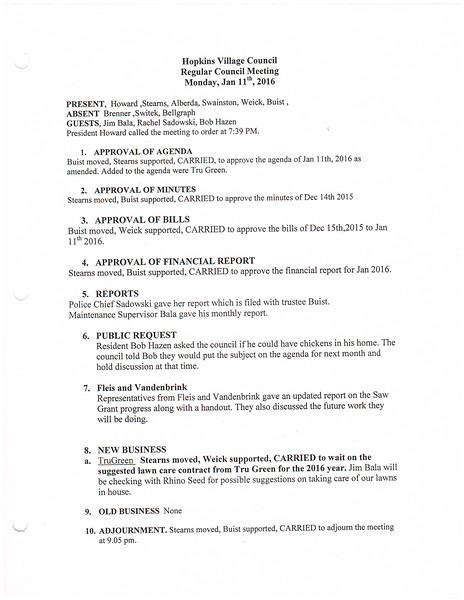 January 2016 Meeting Minutes