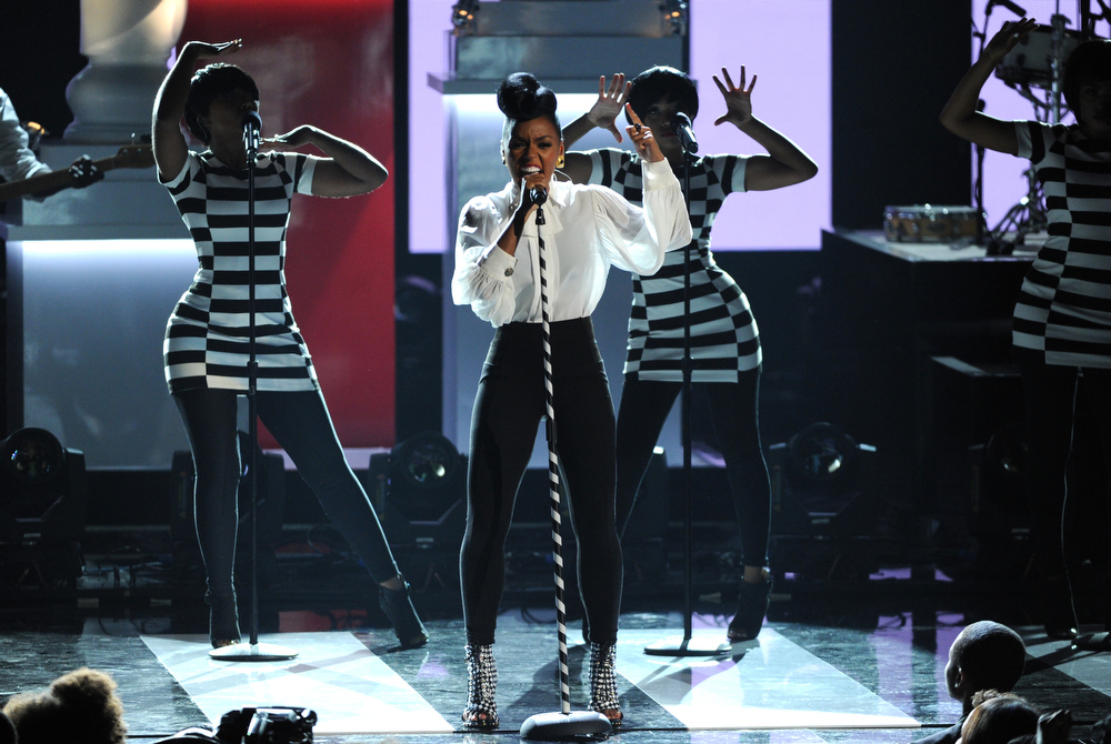 Description of . Janelle Monae performs onstage at the BET Awards at the Nokia Theatre on Sunday, June 30, 2013, in Los Angeles. (Photo by Frank Micelotta/Invision/AP)