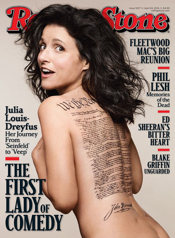 ". <p>9. ROLLING STONE <p>Well ... at least they didn�t put another terrorist on the cover. (unranked) <p><b><a href=\'http://www.bostonglobe.com/arts/2014/04/10/rolling-stone-flubs-julia-louis-dreyfus-constitution-tattoo-cover/sebsIFQMmNR3ijp5DeZaKM/story.html\' target=""_blank\""> HUH?</a></b> <p>    (AP Photo/Rolling Stone, Mark Seliger)"
