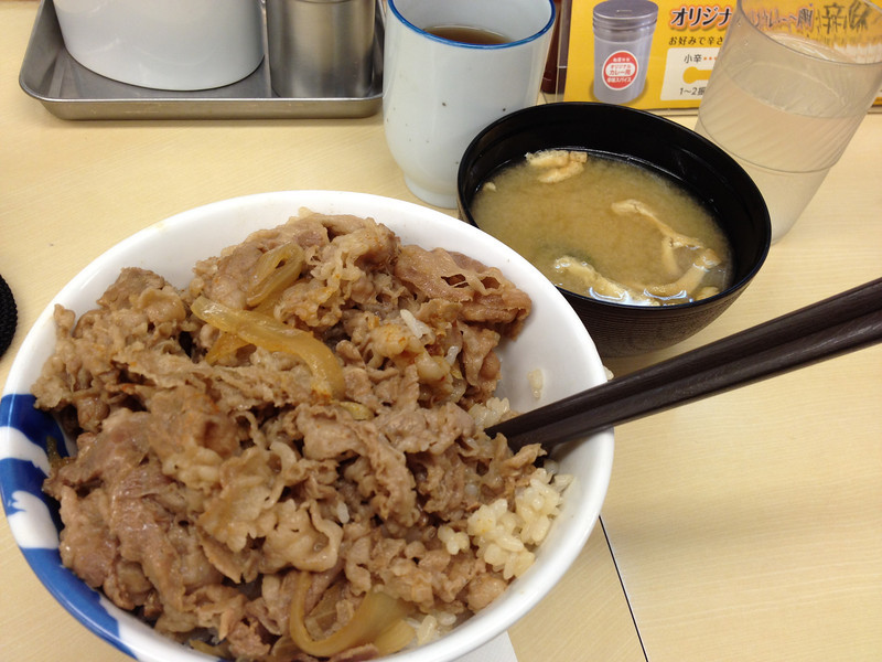 Beef bowl, don't know where this was, it was all in Japanese