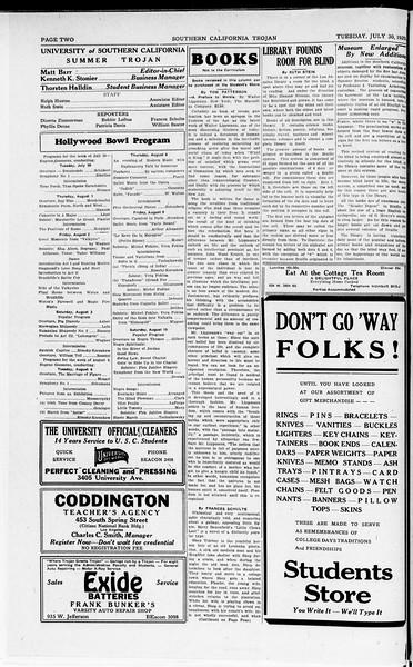 The Southern California Trojan, Vol. 8, No. 9, July 30, 1929