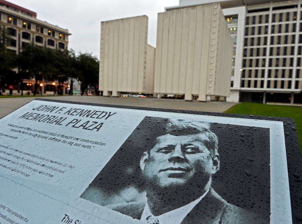 . The sign at the John F. Kennedy Memorial in Dallas, Texas, USA, 22 November 2013. 22 November marks the 50th anniversary of the 35th President of the United States John F. Kennedy\'s assassination on 22 November 1963, at Dealey Plaza in Dallas, Texas, USA. Other commemorative events are planned around the country.  EPA/LARRY W. SMITH