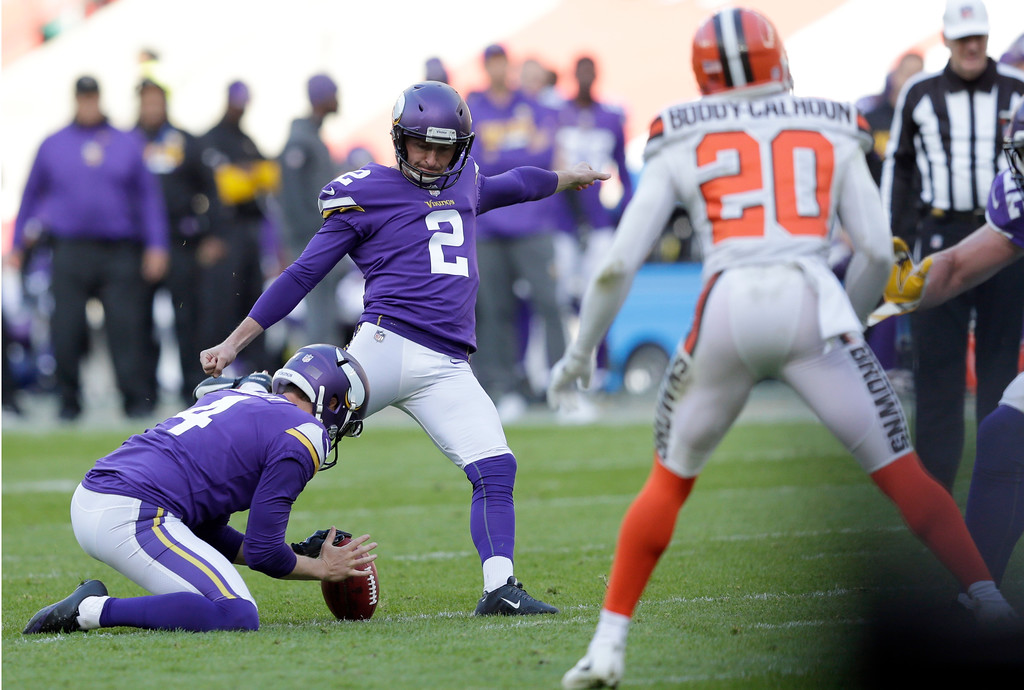 . Minnesota Vikings place kicker Kai Forbath (2) kicks a 35-yard field goal during the first quarter of an NFL football game against Cleveland Browns at Twickenham Stadium in London, Sunday Oct. 29, 2017. (AP Photo/Tim Ireland)