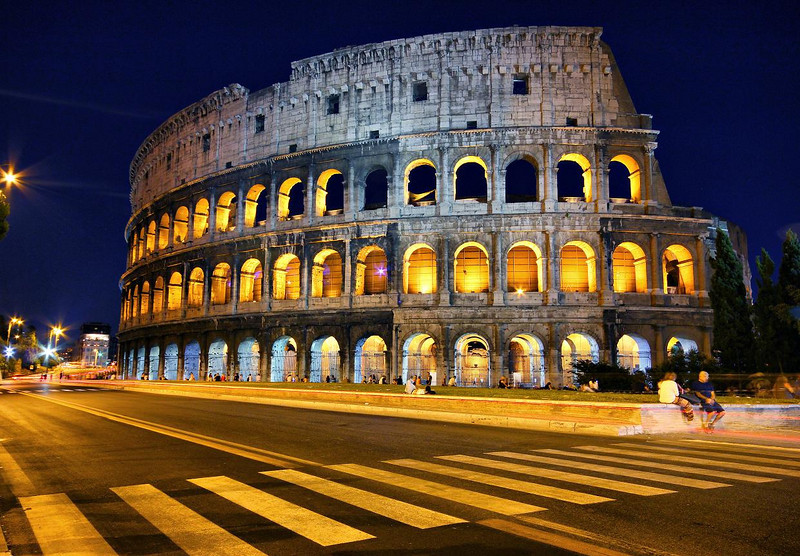 Colosseum in Rome. It is a compelling exercise to think of its history.