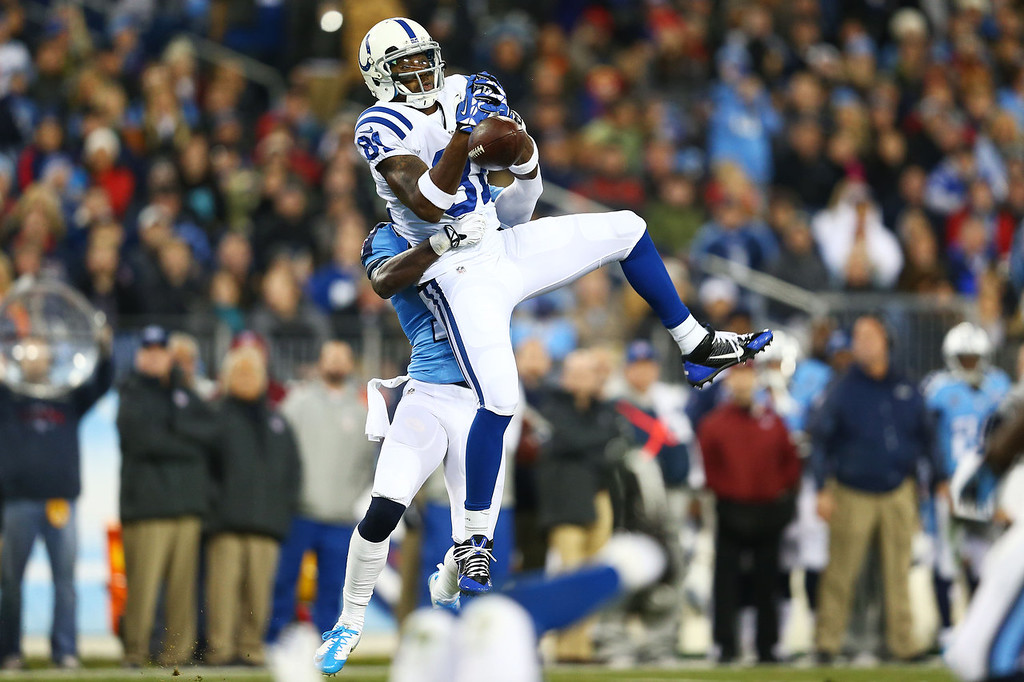 . Darrius Heyward-Bey #81 of the Indianapolis Colts fails to catch a second quarter pass against the defense of the Tennessee Titans at LP Field on November 14, 2013 in Nashville, Tennessee.  (Photo by Andy Lyons/Getty Images)