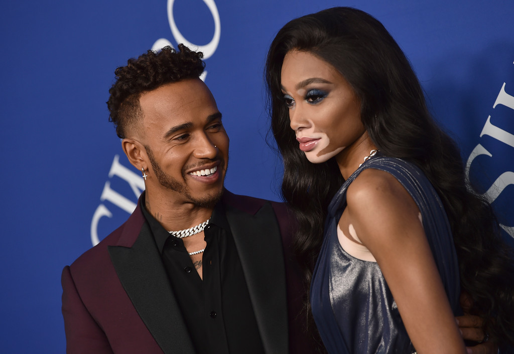 . Lewis Hamilton, left, and Winnie Harlow arrive at the CFDA Fashion Awards at the Brooklyn Museum on Monday, June 4, 2018, in New York. (Photo by Evan Agostini/Invision/AP)