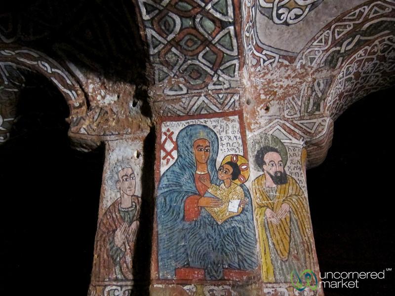 Ethiopian Paintings Inside Abuna Yemata Guh Church - Gheralta Mountains of Tigray, Ethiopia