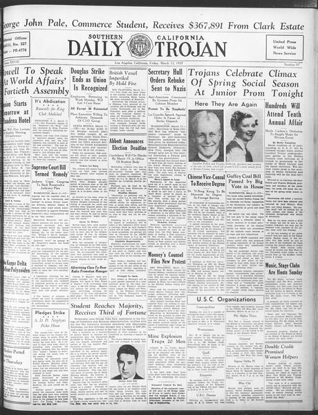Daily Trojan, Vol. 28, No. 97, March 12, 1937