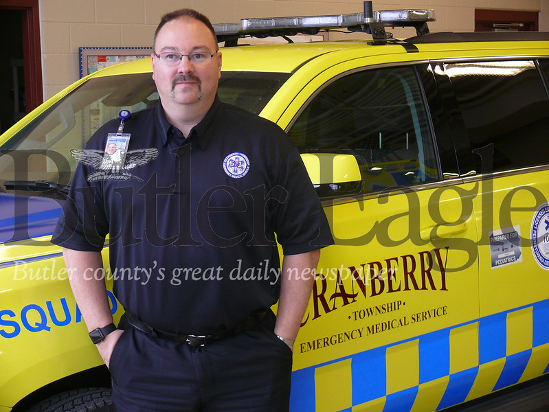 Photo by J.W. Johnson Jr.Jeff Kelly, Cranberry Township EMS executive director, poses for a photo at the EMS station Thursday.