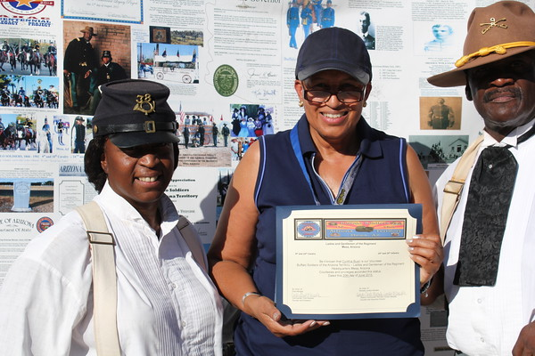 "Cynthia Bush is a volunteer for the Official Arizona Centennial Legacy 'Buffalo Soldiers of the Arizona Territory - Ladies and Gentlemen of the Regiment"", Headquarters Mesa, Arizona since June 20, 2015."
