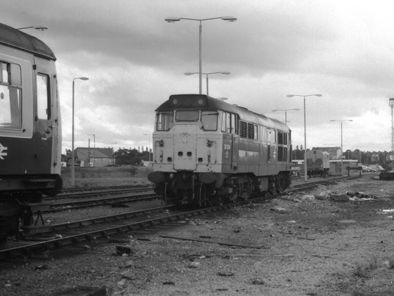 31124 awaits the call to the scrap yard at Thornaby TMD on the 19th August 1990