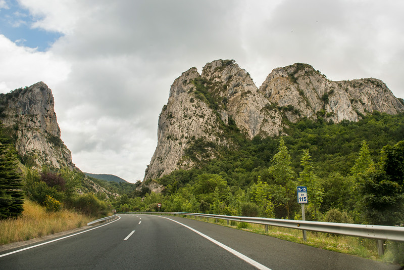Driving into the Pyrenees, Spain