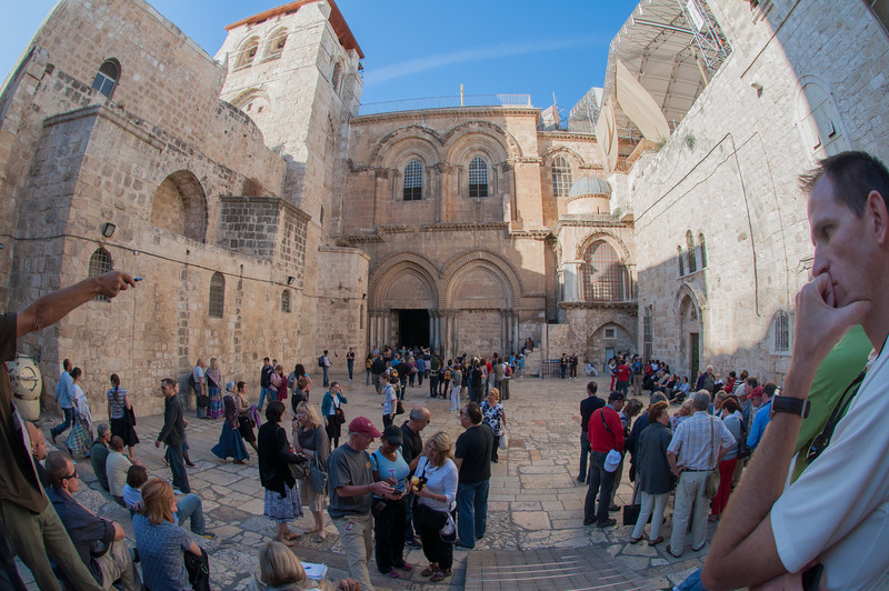 Outside the Church of the Holy Sepulchre in historic Jerusalem, Israel.