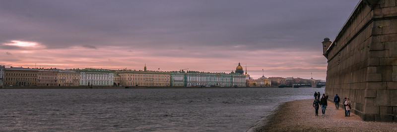 Views of the city at sunset from the Peter and Paul Fortress in  St. Petersburg, Russia.