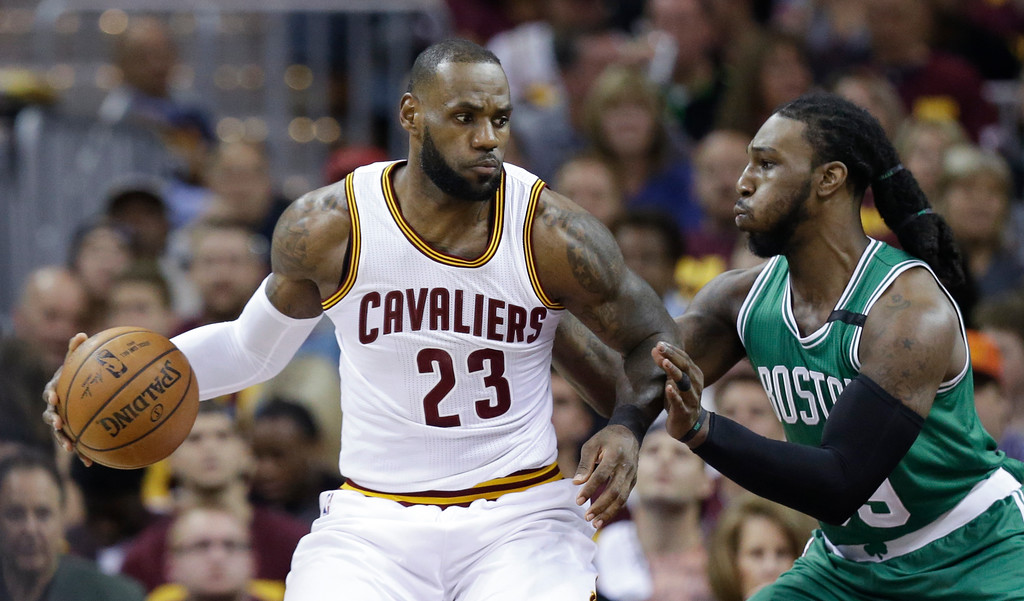 . Cleveland Cavaliers\' LeBron James (23) looks to drive against Boston Celtics\' Jae Crowder (99) during the first half of Game 3 of the NBA basketball Eastern Conference finals, Sunday, May 21, 2017, in Cleveland. (AP Photo/Tony Dejak)