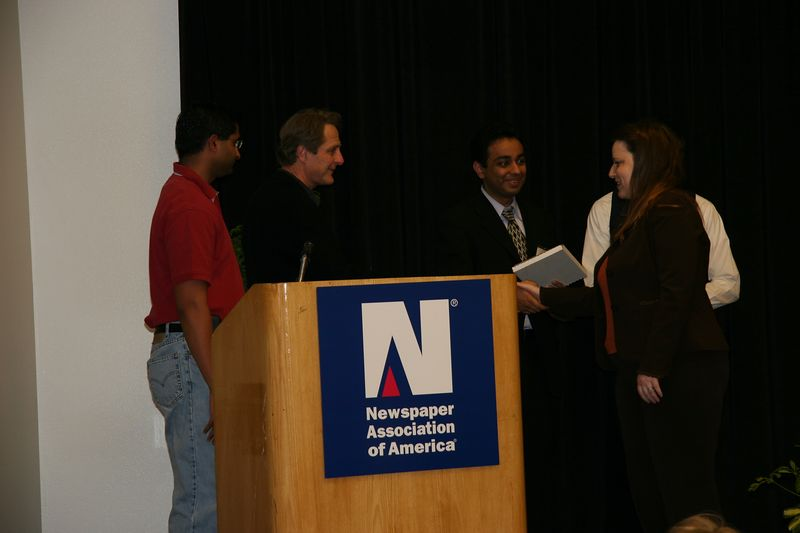Our two teams won two NAA best practices awards for 2004. Only three of us from the two teams were able to attend the ceremony to accept the awards for our company COXnet (Cox Newspapers).