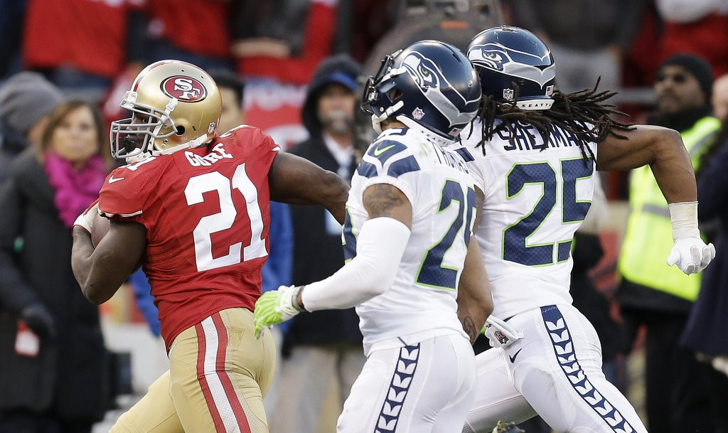 . <p><b> Seahawks at Giants (+7):</b> <p>Seattle cornerback Richard Sherman blamed the referees for Sunday�s loss to NFC West rival San Francisco. Seattle has now lost five of its last seven to the Niners, making them almost as hard to beat for the Seahawks as drug tests.  <p>Pick: <b>Seahawks by 11</b> <p>     (AP Photo/Ben Margot)