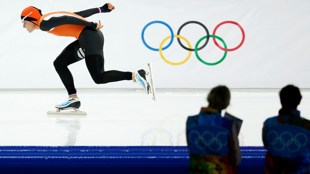 . Silver medallist Koen Verweij of the Netherlands competes in the men\'s 1,500-meter speedskating race during the 2014 Winter Olympics in Sochi, Russia, Saturday, Feb. 15, 2014. Verweij lost the gold medal by three thousandth of a second. (AP Photo/Pavel Golovkin)