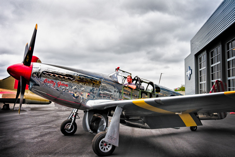North American P-51C rolling out at John Wayne. HDR Version.