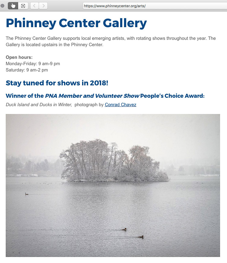 Phinney Center Gallery web page with Conrad Chavez award
