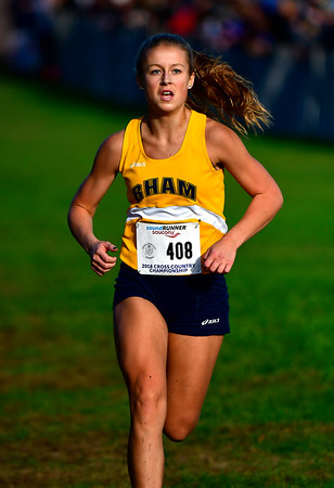 10/16/2018 Mike Orazzi | Staff RHAM High School's Abby Potticary during the CCC Conference Cross Country Championships in Manchester's Wickham Park Tuesday.