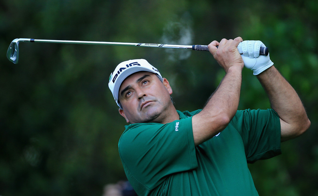 . Angel Cabrera of Argentina hits a shot during the 2014 Par 3 Contest prior to the start of the 2014 Masters Tournament at Augusta National Golf Club on April 9, 2014 in Augusta, Georgia.  (Photo by David Cannon/Getty Images)