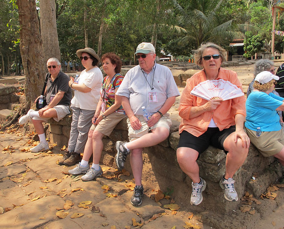 Resting outside Bayon.  David Minker, Renee Mirsky, Linda Kasoff, George Denham, Deborah Cobb, Judy Kaplan, Linda Weber, Harry Weber (back only)