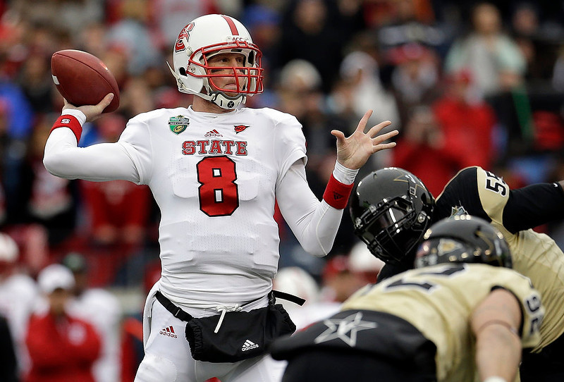. North Carolina State quarterback Mike Glennon (8) passes against Vanderbilt in the first quarter of the Music City Bowl NCAA college football game on Monday, Dec. 31, 2012, in Nashville, Tenn. (AP Photo/Mark Humphrey)