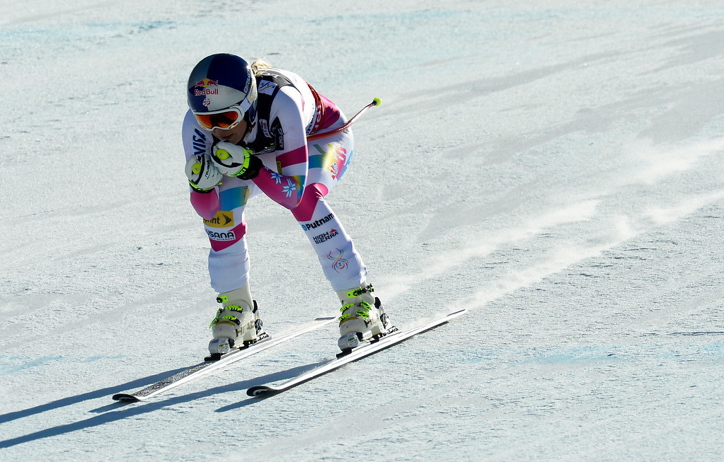 . BEAVER CREEK, CO - FEBRUARY 9: Lindsey Vonn, of the United State, nears the finish line as she competes in the Women\'s downhill portion of the women\'s alpine combined race at the FIS Alpine World Ski Championships in Beaver Creek, CO. February 8, 2015. (Photo By Helen H. Richardson/The Denver Post)