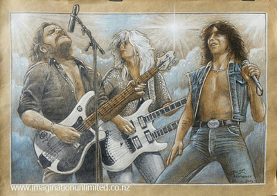 Lemmy, Bon and Lita drawing by Dean Lawrence.jpg