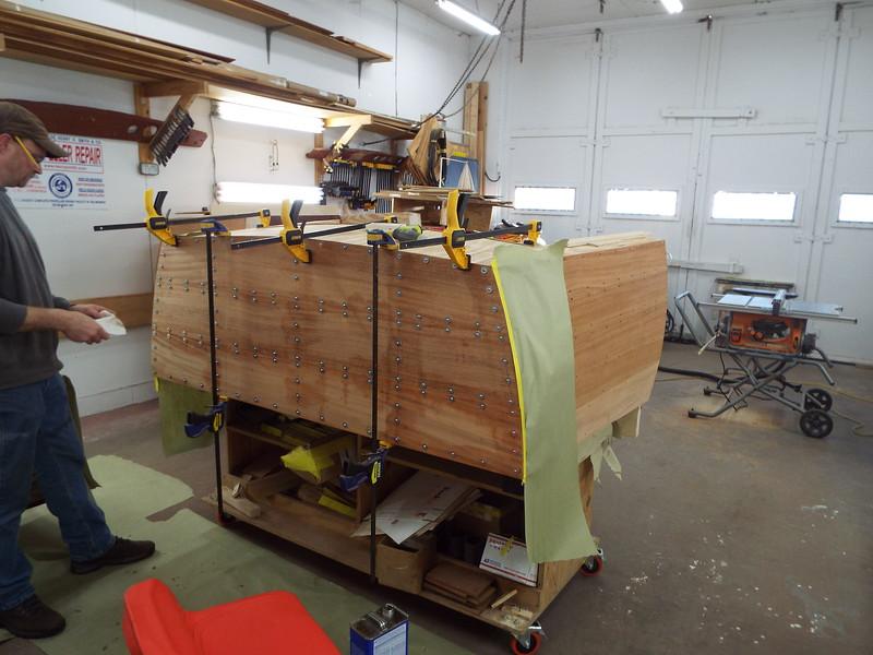 Transom planks installed on the desk.