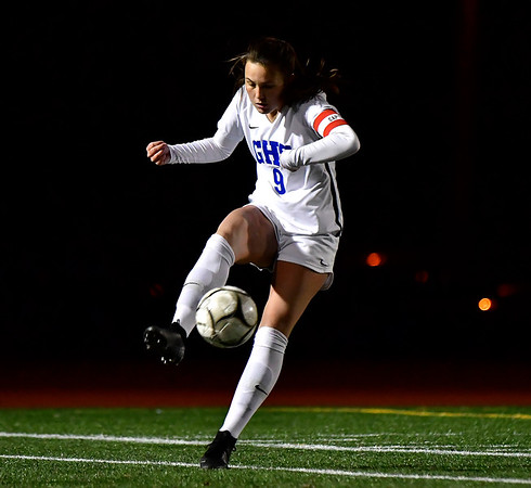 11/23/2019 Mike Orazzi | StaffrGlastonbury's Sophia Desaulniers (9) during the Class LL Girls State Soccer Tournament at Veterans Stadium in New Britain Saturday evening. Glastonbury defeated Southington 1-0. r