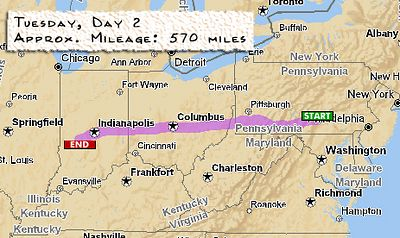 Day 2 Carlisle, PA - Cloverdale, IN