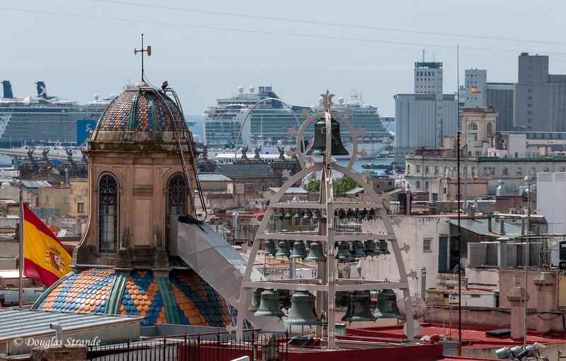 Barcelona: View from the Cathedral roof toward the cruise port
