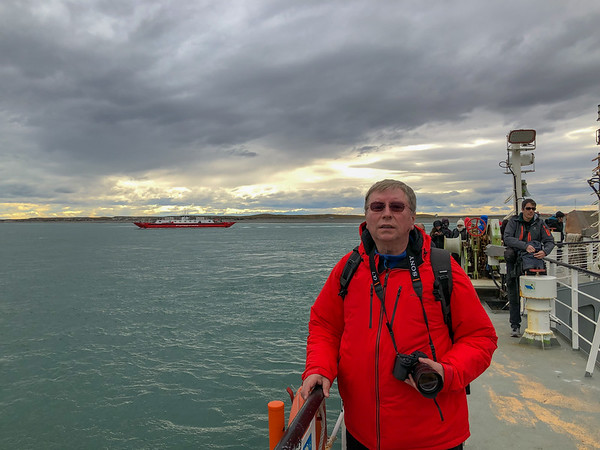 Passing the Strait of Magellan with the ferry, Patagonia, Chile - January, 2019