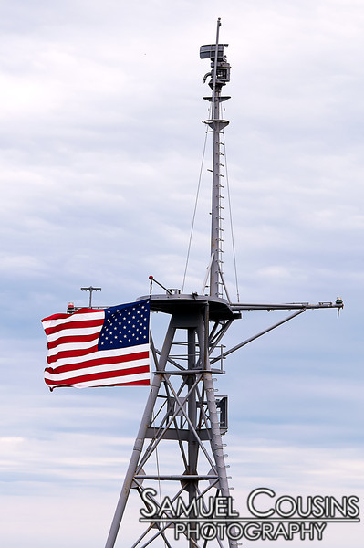 The mast of the USS Portland in Fort Allen Park.