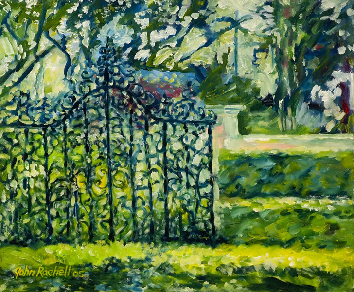 """©John Rachell  Title: Four Arts Garden Entrance Image: 20""""w X 24""""d Dated: 2005 Medium & Support: Oil paint on canvas Signed: LL Signature"""
