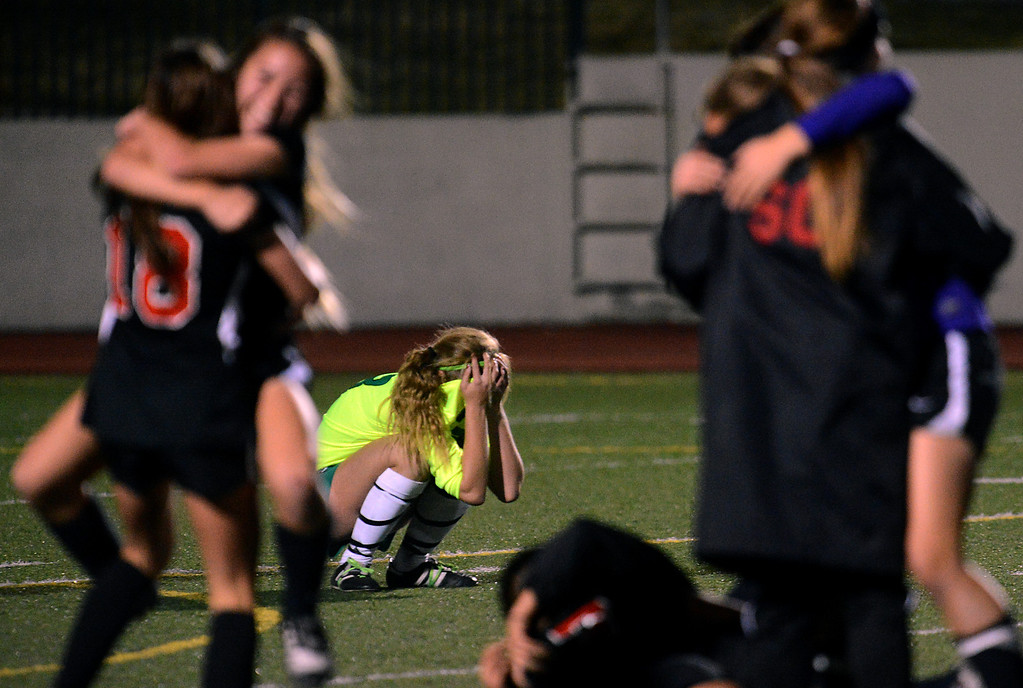 . BS15-UPLANDSOCCER-01-JCM (Jennifer Cappuccio Maher/Staff Photographer) Upland\'s McKenna Pigoni reacts after San Clemente gets the golden goal to advance in the CIF-SS Division 1 playoffs Thursday, February 14, 2013, at Upland High School in Upland. Upland was eliminated by San Clemente 1-0 in overtime.