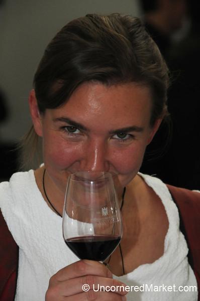 Audrey Enjoys Some German Red Wine - Berlin, Germany