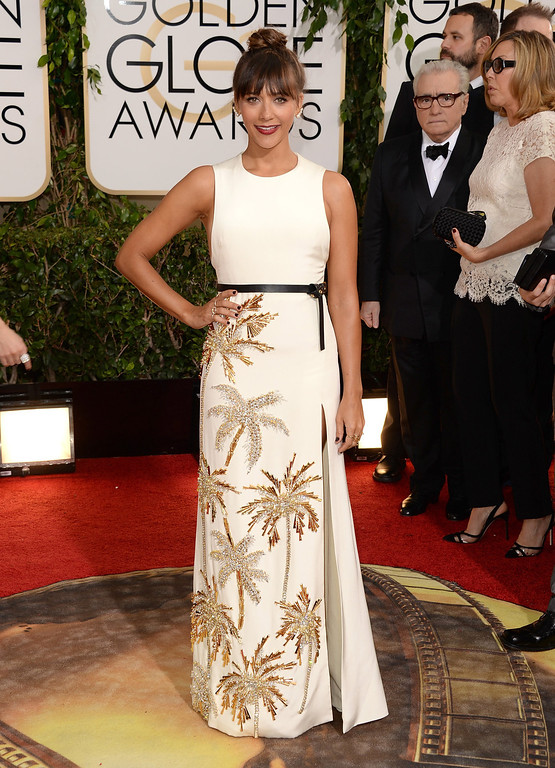 . Actress Rashida Jones attends the 71st Annual Golden Globe Awards held at The Beverly Hilton Hotel on January 12, 2014 in Beverly Hills, California.  (Photo by Jason Merritt/Getty Images)