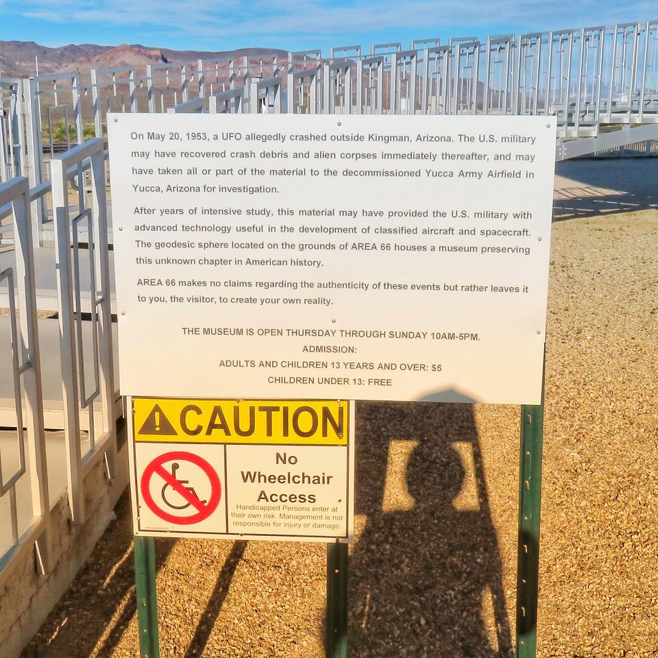 Area 66 Roadside Tourist Attraction - Yucca, Arizona - UFO Museum Sign