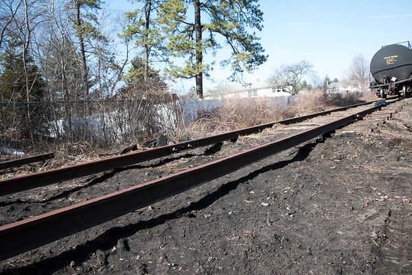 03/02/20 Wesley Bunnell | Staff A train derailment occurred on Monday March 3, 2020 near Russell Ave and Roosevelt St. in Plainville. A section of track where the broken tires were removed by crews is shown.