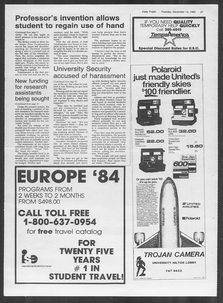 Daily Trojan, Vol. 94, No. 67, December 13, 1983