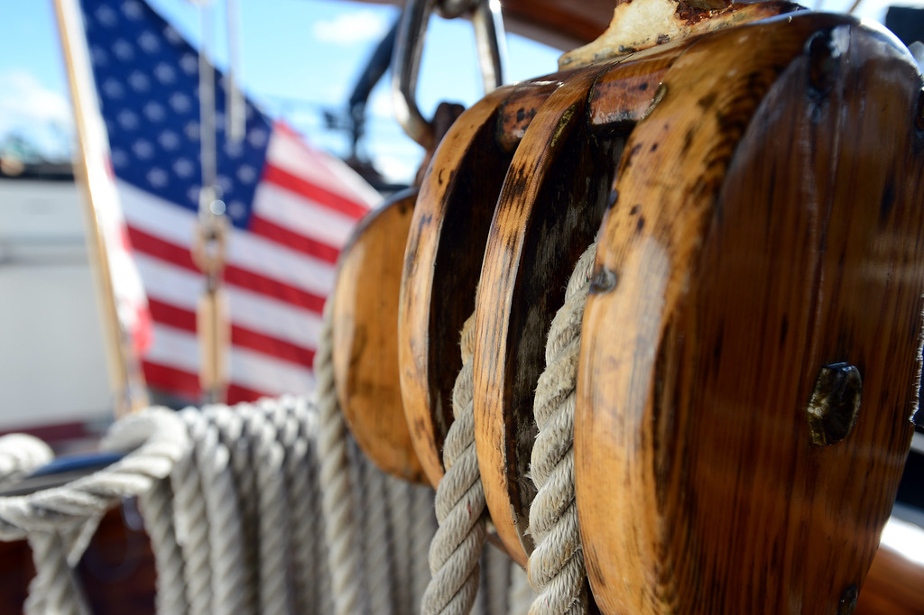 . Lines pass through a wooden pulley aboard the Eros, a restored 1939 English schooner owned by Bill and Grace Bodle, in Richmond, Calif. on Thursday, Jan. 10, 2013. (Kristopher Skinner/Staff)