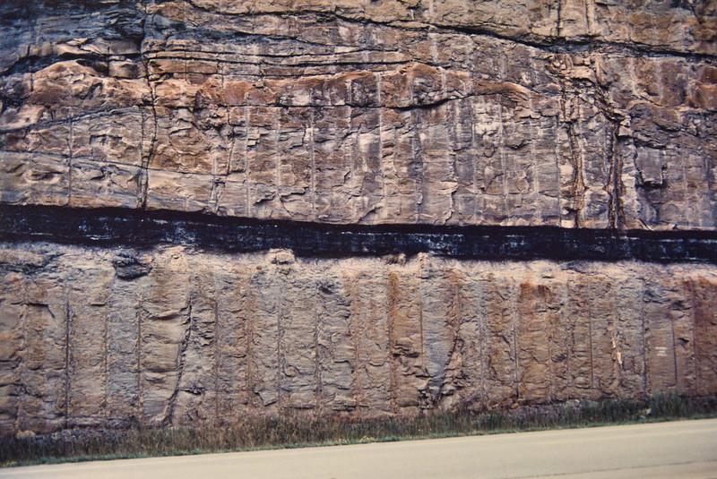 Coal seam along side of highway.